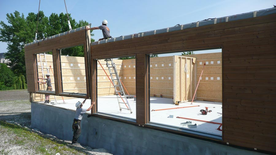 Chantier construction maison bois cologique ecop habitat for Image construction maison