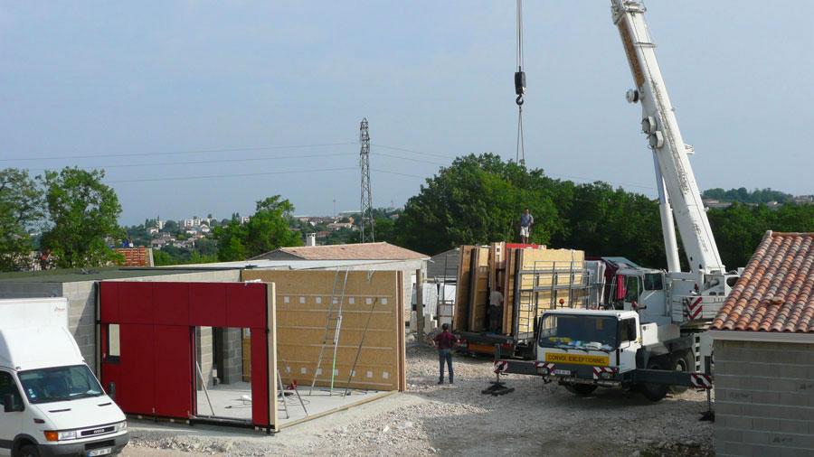 Construction Bois Ecologique : Chantier de la construction maison bois ?cologique Ecop Habitat.