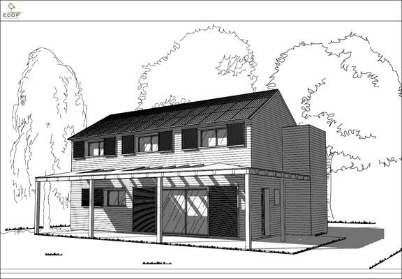 Perspectives maisons cologiques ecop habitat - Maison toit une pente ...