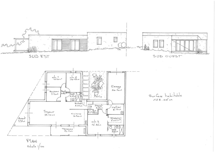 Plan maison cologique medium constructeur maison bois for Plan maison sud